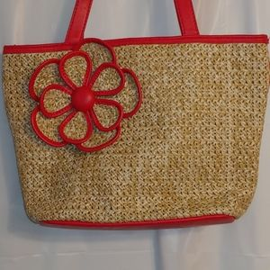 Bueno woven bag with decorative applied flower